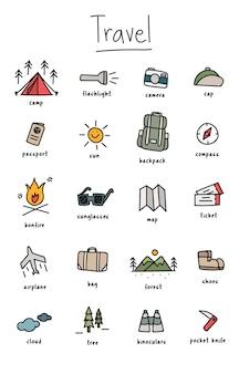캠핑 아이콘 모음의 그림 그리기 스타일
