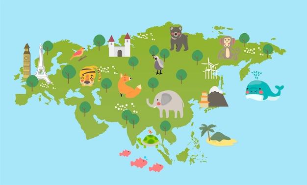 야생 동물 서식지의 그림 그리기 스타일 세트