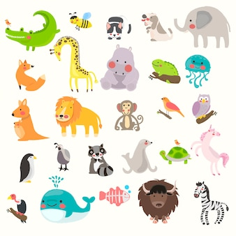 Illustration drawing style set of wildlife