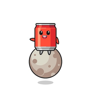 Illustration of drink can cartoon sitting on the moon , cute style design for t shirt, sticker, logo element