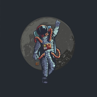 Illustration of drunk astronaut give bye to you