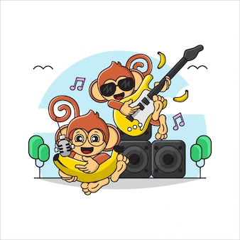 Illustration of duo / group cute monkey playing music and singing with guitar instrumental and banana..