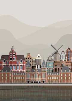 Illustration of the dutch landmarks