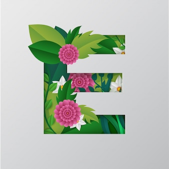 Illustration of e alphabet made by floral design.
