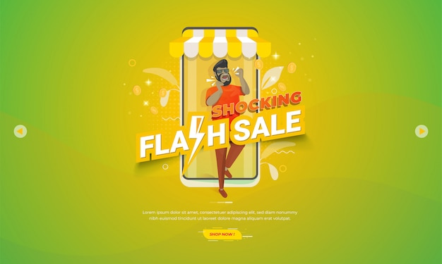 Illustration for e-commerce promotion banner with shocking flash sale concept