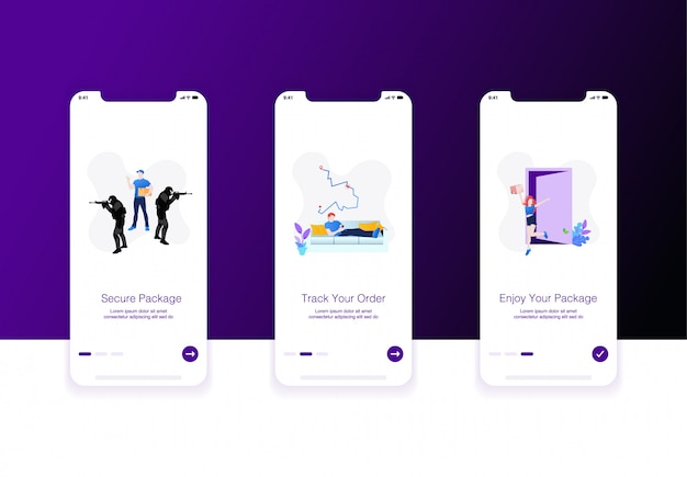 Illustration of e-commerce or shipping onboarding screen