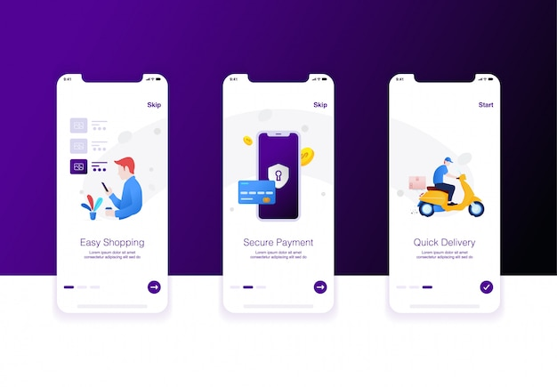 Illustration of e-commerce step easy shopping, security payment and quick delivery
