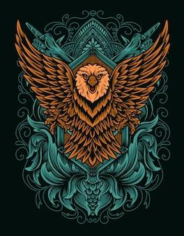 Иллюстрация орел птица на белой поверхности