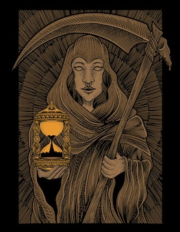 Illustration eagle death angel woman with engraving style