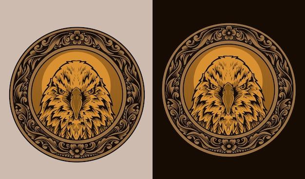 Иллюстрация головы орла на старинный круг орнамент