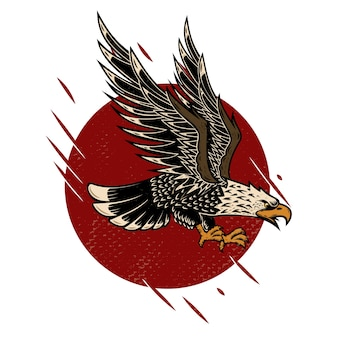 Illustration of eagle in old school tattoo style.