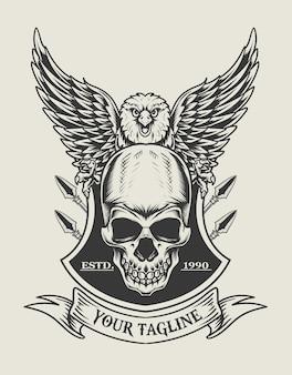 Иллюстрация орла черепа монохромный логотип