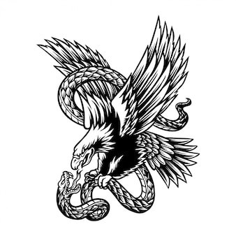 Illustration of eagle and snake battle
