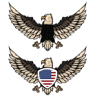 Illustration of eagle with american flag.  element for poster, flyer, emblem, sign.  illustration.