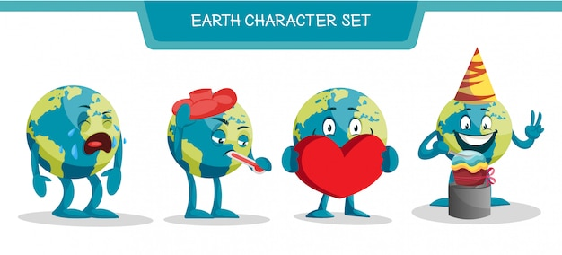 Illustration of earth character set