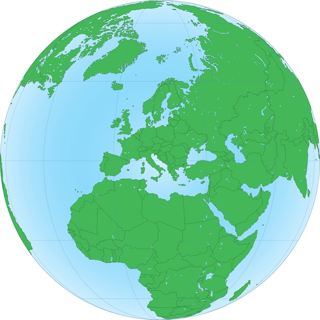 Illustration of earth globe with focused on europe