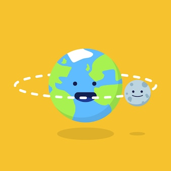 Illustration of earth and moon