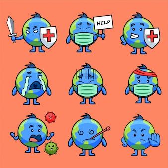 Illustration of earth sticker set