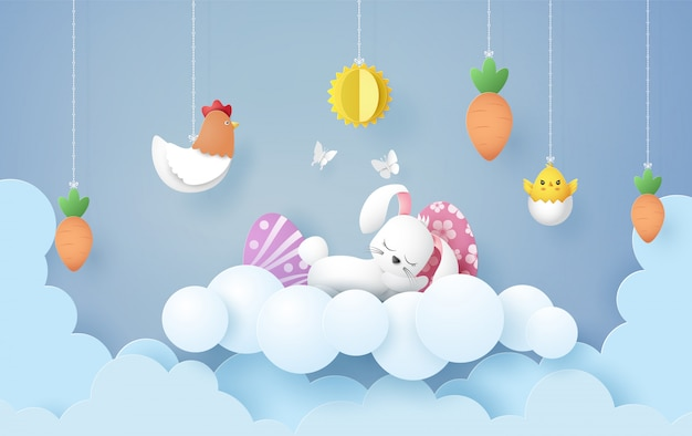 Illustration of easter day with egg and rabbit ,