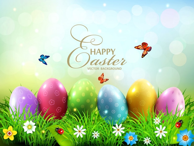Illustration of easter greeting card with colorful eggs lying on the green grass against the blue sky.
