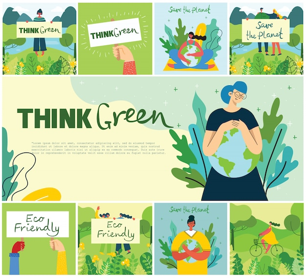 Illustration eco backgrounds of concept of green eco energy and quote save the planet, think green in te flat style