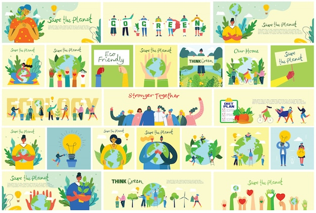 Illustration eco backgrounds of concept of green eco energy and quote save the planet, think green and waste recycle