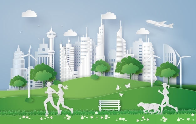 Illustration of eco concept,green city in the leaf.