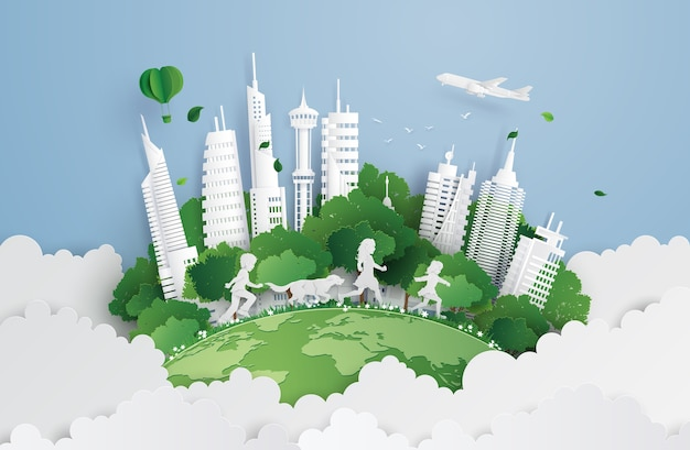 Illustration of eco  and environment