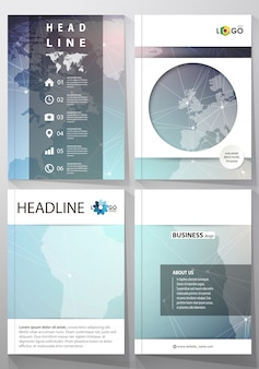 The illustration of editable layout of four a4 format covers with the circle design templates for brochure, magazine, flyer. molecule structure, connecting lines and dots.
