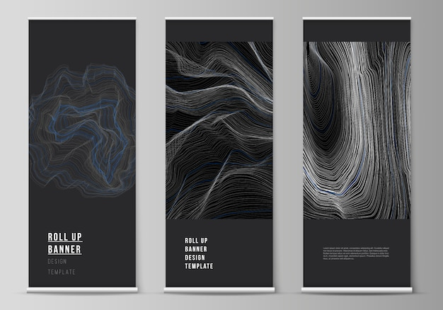 The  illustration of the editable layout of roll up banner stands, vertical flyers, flags design business templates. smooth smoke wave, hi-tech concept black color techno background.