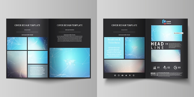 Illustration of editable layout of two a4 format modern covers design templates