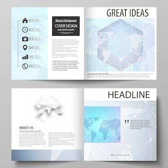 The  illustration of the editable layout of two covers templates for square design bi fold brochure, magazine, flyer, booklet.