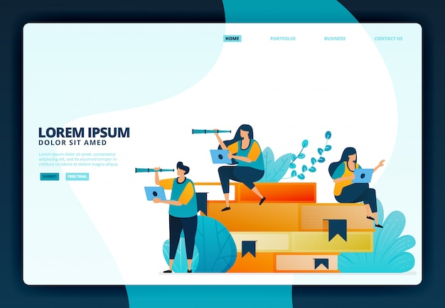 Illustration of education and learning with books.   for landing page website