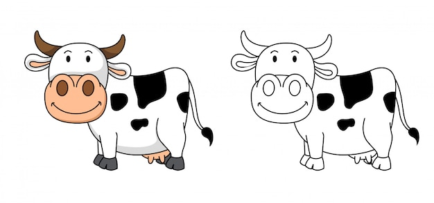 Illustration of educational coloring cow