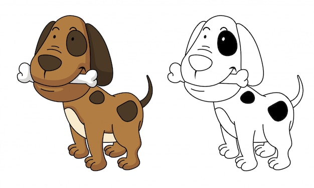 Illustration of educational coloring dog