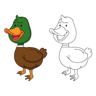 Illustration of educational coloring duck