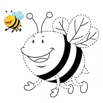 Illustration of educational game and coloring bee