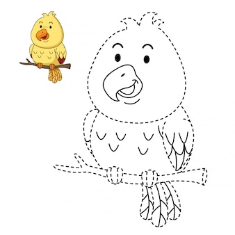 Illustration of educational game and coloring bird