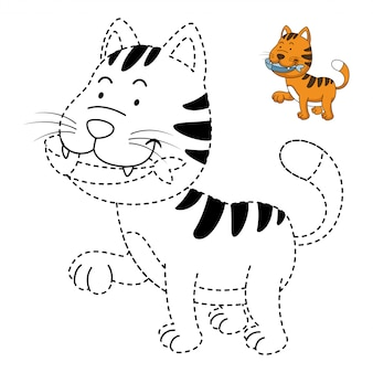 Illustration of educational game and coloring cat