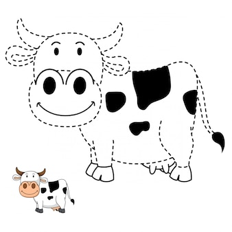 Illustration of educational game and coloring cow