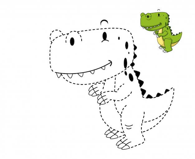 Illustration of educational game and coloring dinosaur