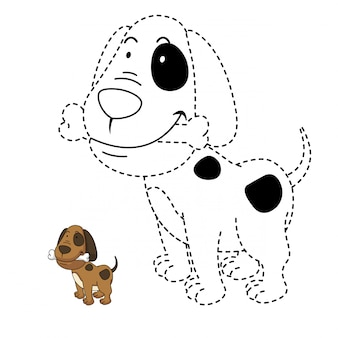 Illustration of educational game and coloring dog