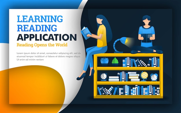 Illustration of educational learning reading application design