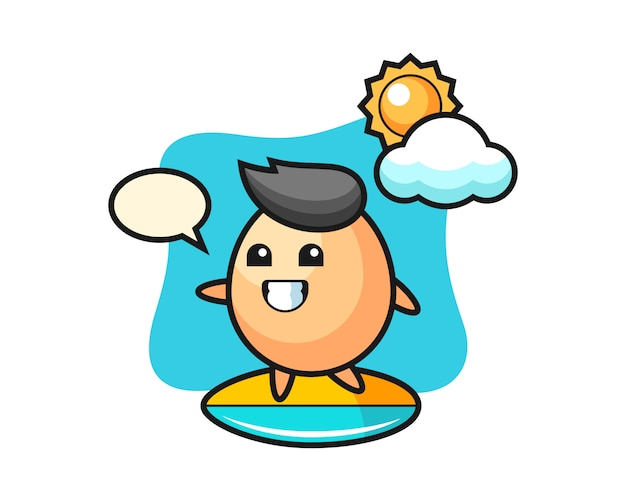 Illustration of egg cartoon do surfing on the beach, cute style design for t shirt, sticker, logo element