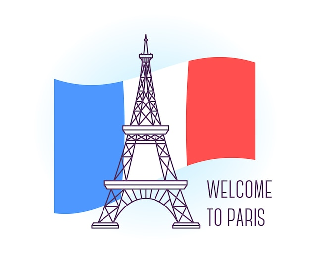 Illustration of eiffel tower paris landmark symbol of france sight-seeing of europe