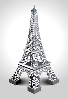 Illustration of eiffel tower  on white background.