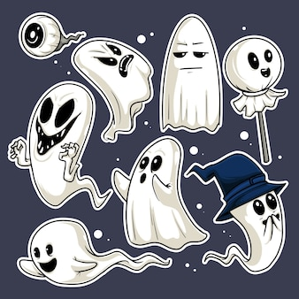 Illustration of eight different and funny ghost expressions
