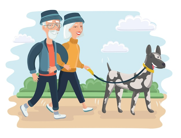 Illustration of a elder couple walking with big dog. grandmother and grandfather in the park