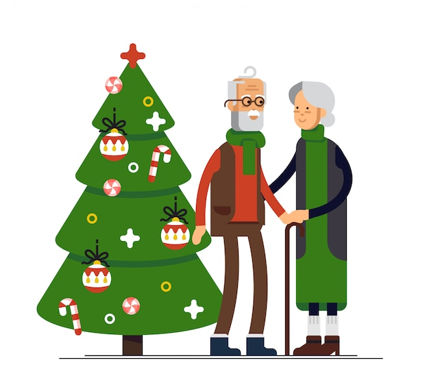 Illustration of elderly couple celebrating christmas.