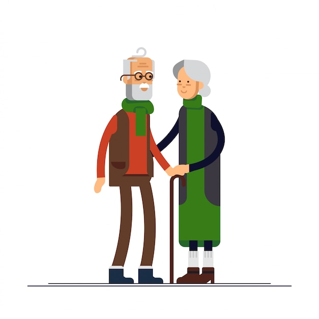 Illustration of elderly couple celebrating christmas